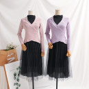 Dress Spring 2021 Red, black, purple, apricot, pink S,M,L,XL longuette Two piece set Long sleeves commute V-neck Elastic waist Solid color Socket Pleated skirt routine Type A Korean version Pleating, pleating, stitching, beading, mesh, lace