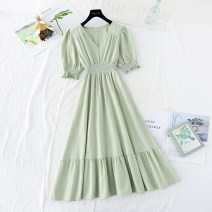 Dress Spring 2021 Purple, green, yellow, white, pink S,M,L,XL longuette singleton  Short sleeve commute V-neck Elastic waist Solid color Socket Ruffle Skirt puff sleeve Type A Korean version Ruffles, folds, Auricularia auricula More than 95% cotton