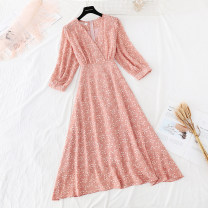 Dress Spring 2021 Orange S,M,L,XL longuette singleton  Long sleeves commute V-neck High waist Broken flowers zipper Big swing routine Type A Retro Bowknot, fold, lace, bandage, zipper, printing More than 95% Chiffon