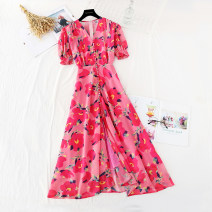 Dress Spring 2021 gules S,M,L,XL longuette singleton  Short sleeve commute V-neck High waist Broken flowers zipper Big swing puff sleeve Type A Retro Fold, button, zipper, print More than 95% Chiffon