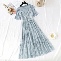 Dress Summer of 2019 Blue, apricot, pink S,M,L,XL longuette Two piece set Short sleeve commute Crew neck High waist Solid color zipper Ruffle Skirt routine camisole Type A Korean version Flounce, hollow out, bright silk, Auricularia auricula, splicing, gauze net, lace More than 95% Lace