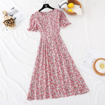 Dress Spring 2021 Purple, blue, pink S,M,L longuette singleton  Short sleeve commute Crew neck High waist Broken flowers zipper Big swing puff sleeve Type A Korean version Bowknot, ruffle, fold, fungus, lace, bandage, zipper, printing More than 95% Chiffon
