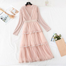 Dress Winter of 2019 Apricot, black, pink S,M,L,XL longuette Two piece set Long sleeves commute Half high collar High waist Solid color Socket Cake skirt routine Type A Korean version Hollowing, pleating, Gouhua, hollowing, stitching, buttons, mesh, lace Lace