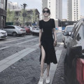Dress Summer of 2019 black S,M,L,XL,2XL,3XL,4XL Mid length dress singleton  Short sleeve commute Crew neck High waist Solid color Socket One pace skirt routine Others 18-24 years old Type A Korean version Splice, split