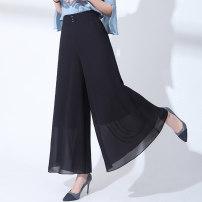 Casual pants black M,L,XL,2XL,3XL,4XL Summer 2021 trousers Wide leg pants High waist commute Thin money 91% (inclusive) - 95% (inclusive) other Korean version Three dimensional decoration Asymmetry