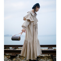 Dress Winter 2020 Camel in stock, camel in April 18 S. M, model extension longuette singleton  Long sleeves commute Loose waist Solid color Single breasted raglan sleeve 18-24 years old Type A Ruffle, tuck, lace, wave cotton