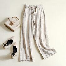 Casual pants White, black, light khaki M,L,XL,2XL,3XL Ninth pants Wide leg pants High waist commute routine 96% and above hemp literature hemp