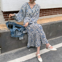 Dress Spring 2021 Apricot, blue and white, blue and white short (lined), blue and white shirt (with sling), blue and white short sleeve (with sling) S,M,L Mid length dress Two piece set Long sleeves commute V-neck High waist Broken flowers Socket A-line skirt puff sleeve Others 18-24 years old Type X