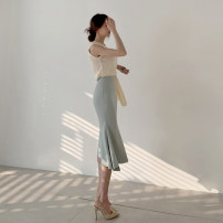skirt Summer 2020 S,M,L Blue, apricot Mid length dress commute High waist Irregular Solid color Type H 25-29 years old X194028 81% (inclusive) - 90% (inclusive) other other Ruffle, asymmetric, zipper Korean version 401g / m ^ 2 (inclusive) - 500g / m ^ 2 (inclusive)