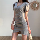 Dress Summer 2020 Gray, black S,M,L Short skirt singleton  Short sleeve commute V-neck High waist Solid color Socket other routine Others 25-29 years old Type H Korean version fold 81% (inclusive) - 90% (inclusive) other cotton