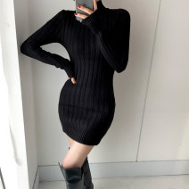 Dress Winter 2020 Black, apricot Average size Short skirt other Long sleeves commute High collar High waist Solid color Socket other routine Others 25-29 years old Type A Korean version L23954 81% (inclusive) - 90% (inclusive) knitting other