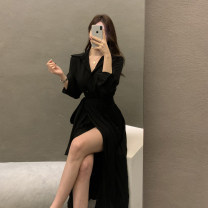 Dress Spring 2021 Khaki, black S,M,L longuette Fake two pieces Long sleeves commute Polo collar High waist Solid color Single breasted Pleated skirt shirt sleeve Others 25-29 years old Type H Korean version Pleats, buttons L24214 81% (inclusive) - 90% (inclusive) other other