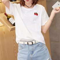 T-shirt white S,M,L,XL,2XL Summer 2021 Short sleeve Crew neck easy Regular routine commute cotton 96% and above 25-29 years old Korean version originality Plants and flowers, solid color Embroidery