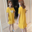 T-shirt Yellow, white, black, collection plus purchase priority delivery S,M,L,XL,2XL,3XL Summer of 2019 Short sleeve Crew neck easy Medium length routine commute cotton 96% and above Korean version originality Print, Ruffle