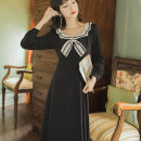 Dress Autumn 2020 black S,M,L,XL Mid length dress singleton  Long sleeves Sweet Admiral High waist Solid color Socket Big swing routine Others 18-24 years old Type A Bowknot, stitching, zipper 81% (inclusive) - 90% (inclusive) college