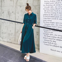 Dress Summer 2020 Dark green, purple S,M,L,XL Mid length dress singleton  Short sleeve commute Polo collar Loose waist Solid color Single breasted Big swing shirt sleeve Others Type H Other / other Korean version Pocket, lace up, tridimensional decoration, buttons