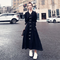 Dress Autumn 2020 black S,M,L,XL Mid length dress singleton  Long sleeves commute Polo collar High waist Solid color double-breasted Big swing raglan sleeve Others Type A Other / other Korean version Three dimensional buttons, decorative pockets, lace up 81% (inclusive) - 90% (inclusive) Chiffon