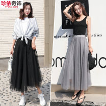 skirt Summer of 2019 S M L XL 2XL longuette Versatile High waist A-line skirt Solid color Type A 18-24 years old More than 95% Gemini polyester fiber Pleated mesh lace Polyester 99.9% others 0.1% Pure e-commerce (online only)