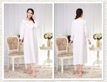 Nightdress Princess House white 160(M),165(L),170(XL) Sweet Nine point sleeve pajamas longuette spring Solid color youth Crew neck cotton Lotus leaf edge More than 95% 200g and below