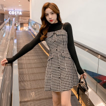 Dress Winter 2020 Single skirt, suit S,M,L,XL Middle-skirt Two piece set Long sleeves commute One word collar middle-waisted houndstooth  Socket A-line skirt routine camisole 25-29 years old Type A Retro 31% (inclusive) - 50% (inclusive) Wool