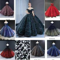 Dress / evening wear Wedding, adulthood, party, company annual meeting, performance XXL,S,M,L,XL Intellectuality longuette middle-waisted Spring 2020 Bandage Sequins Short sleeve