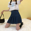 skirt Summer 2020 S,M,L,XL navy blue Short skirt commute High waist Pleated skirt Solid color Type A 18-24 years old 71% (inclusive) - 80% (inclusive) Denim Sakura Kawabata other Korean version