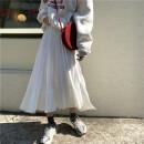 skirt Autumn of 2019 Average size White, black Mid length dress Natural waist Pleated skirt Solid color Type A 2293# Sakura Kawabata