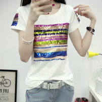 T-shirt S M L XL 2XL 3XL Summer 2020 Short sleeve Crew neck Self cultivation Regular routine Sweet cotton 96% and above 18-24 years old originality ANMASHU Bright silk sequins Cotton 96.1% polyurethane elastic fiber (spandex) 3.9% Pure e-commerce (online only) solar system