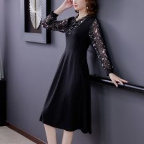 Dress Spring 2021 black M,L,XL,2XL,3XL,4XL,5XL longuette Long sleeves commute stand collar middle-waisted Socket routine Colorful sunshine  3962#