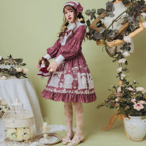 Dress Summer of 2019 Pea red S,M,L,XL Mid length dress singleton  Long sleeves Sweet stand collar High waist other Socket Princess Dress bishop sleeve Others 18-24 years old Type A Eieyomi A-21-01 More than 95% other polyester fiber Lolita