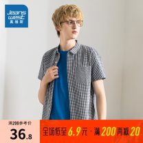 shirt Youth fashion JeansWest S,M,L,XL,XXS,XS,XXL,XXXL Dark black blue 2594 routine square neck Short sleeve Self cultivation Other leisure summer JW-01-133TB502 youth Cotton 100% Youthful vigor 2020 lattice Plaid other cotton Button decoration More than 95%