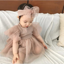Jumpsuit / climbing suit / Khaki Other / other Class A female Off white + hair band, pink + hair band 66cm,73cm,80cm,90cm cotton summer Long sleeves Trigonometry princess There are models in the real shooting nothing Socket Freshmen, 3 months, 6 months, 12 months, 18 months, 2 years old, 9 months old