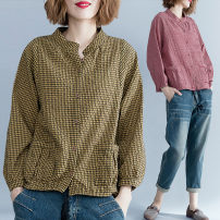 shirt Red, yellow, black One size fits all [100-150 kg recommended] Autumn of 2018 hemp 91% (inclusive) - 95% (inclusive) Long sleeves commute Regular stand collar Single row multi button routine lattice 25-29 years old Straight cylinder Other / other literature Frenulum