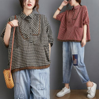 Women's large Summer 2021 Red check, black check shirt singleton  commute easy moderate Socket Short sleeve lattice literature Polo collar have cash less than that is registered in the accounts cotton Collage routine 9202# Other / other Lace stitching 81% (inclusive) - 90% (inclusive)