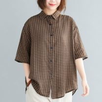 Women's large Summer 2020 Graph color Large size average size [100-200kg recommended] shirt singleton  commute easy thin Cardigan elbow sleeve lattice literature Polo collar have cash less than that is registered in the accounts cotton printing and dyeing pagoda sleeve Other / other 25-29 years old