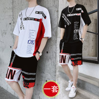 T-shirt Youth fashion 003 white 003 red 003 black thin M L XL 3XL XXL King Fuding elbow sleeve Crew neck easy Other leisure summer TZ616 Cotton 70% polyester 25% polyurethane elastic fiber (spandex) 5% teenagers Off shoulder sleeve Youthful vigor Knitted fabric Summer of 2019 Alphanumeric Assembly