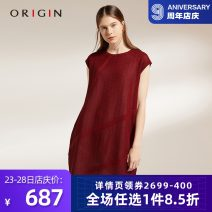 Dress Spring of 2019 claret M/160 L/165 Middle-skirt Short sleeve commute Crew neck middle-waisted Solid color Socket 30-34 years old Type O Origin / an Ruijing Simplicity D1O1283L 30% and below polyester fiber Viscose (viscose) 81.6% polyester 18.4%