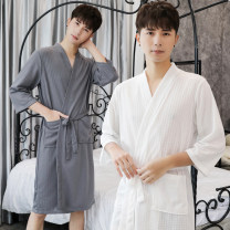 Nightdress Simplicity three quarter sleeve Living clothes Middle-skirt summer Solid color youth V-neck Polyester (polyester) One piece More than 95% Regenerated fiber 200g and below
