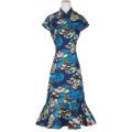 Dress Summer 2021 E00 × 9097a Decor M,L,3XL,4XL,5XL Short skirt Short sleeve stand collar High waist Broken flowers Socket 51% (inclusive) - 70% (inclusive)