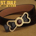 Belt / belt / chain top layer leather Gold 30385y silver 30385w female belt leisure time Single loop Young and middle aged Smooth button Geometric pattern Embossing 2.5cm stainless steel S. T. dule / dule 100cm 105cm 110cm 115cm 120cm 125cm 130cm Spring / summer 2018