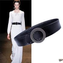 Belt / belt / chain top layer leather female belt Versatile Single loop a hook Round buckle soft surface 5cm alloy Hollowing out