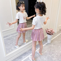 suit Harry rabbit Purple, green The recommended height is about 110cm for Size 120, 120cm for Size 130, 130cm for size 140, 140cm for size 150 and 150cm for size 160 female summer Korean version Short sleeve + skirt 2 pieces routine There are models in the real shooting Socket nothing lattice other