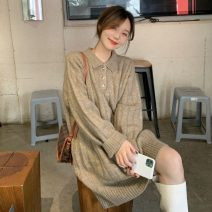 Dress Winter 2020 Gray, oatmeal XS,S,M Mid length dress singleton  Long sleeves commute Polo collar High waist Solid color Socket A-line skirt routine Others 18-24 years old Type A Korean version 51% (inclusive) - 70% (inclusive) other acrylic fibres