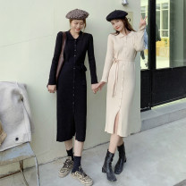 Dress Winter 2020 Apricot, black XS,S,M,L Mid length dress singleton  Long sleeves commute Polo collar High waist Solid color Socket One pace skirt routine Others 18-24 years old Type A Korean version 4978# 31% (inclusive) - 50% (inclusive) knitting polyester fiber