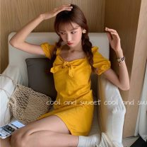 Dress Summer 2020 Yellow, black Xs, s, one size fits all Short skirt singleton  Short sleeve commute square neck High waist Solid color Socket A-line skirt puff sleeve Others 18-24 years old Type A Korean version 31% (inclusive) - 50% (inclusive) other cotton