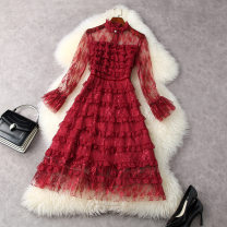 Dress Spring 2021 claret S,M,L,XL longuette singleton  Long sleeves commute stand collar High waist Solid color zipper Cake skirt pagoda sleeve Others 30-34 years old Type X LANYAYI lady Splicing T11869 More than 95% Lace other