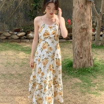 Dress Summer 2021 S, M Mid length dress singleton  Sleeveless commute V-neck High waist Decor Socket A-line skirt other camisole 18-24 years old Type A Retro Fold, Auricularia auricula, stitching 30% and below other polyester fiber