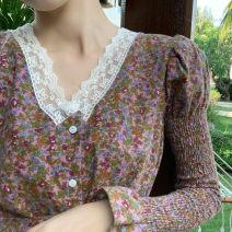 Dress Autumn 2020 S, M Mid length dress singleton  Long sleeves commute V-neck High waist Decor Socket A-line skirt Petal sleeve Others Type A Retro 31% (inclusive) - 50% (inclusive) other