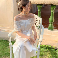 Dress Summer 2021 White, blue sky Average size Mid length dress singleton  Short sleeve commute Crew neck High waist Solid color Socket Princess Dress puff sleeve 18-24 years old Type A Retro Fold, Auricularia auricula 31% (inclusive) - 50% (inclusive) other polyester fiber