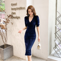 Dress Winter 2020 Black, blue S. M, l, XL, pay attention to shops and get coupons Mid length dress singleton  three quarter sleeve commute V-neck High waist Solid color zipper One pace skirt bishop sleeve Others 30-34 years old Type X Other / other Ol style Bright silk, button velvet polyester fiber